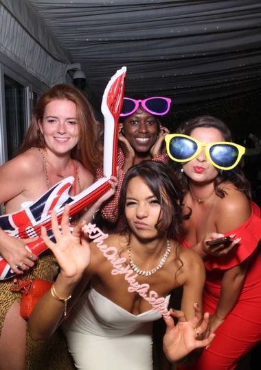 Photo booth fun with novelty props