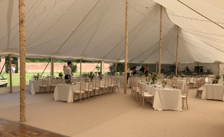 Sophisticated flooring inside a tent
