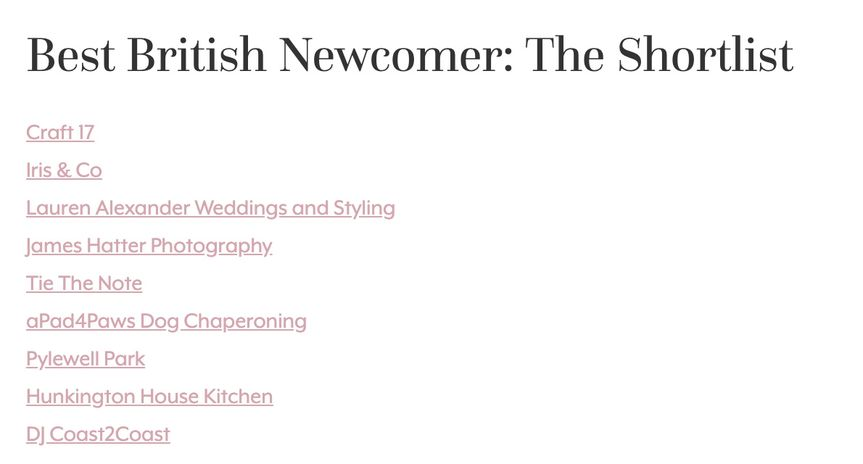 We have been shortlisted as Best British Newcomer for 2020 UK Wedding Awards!!