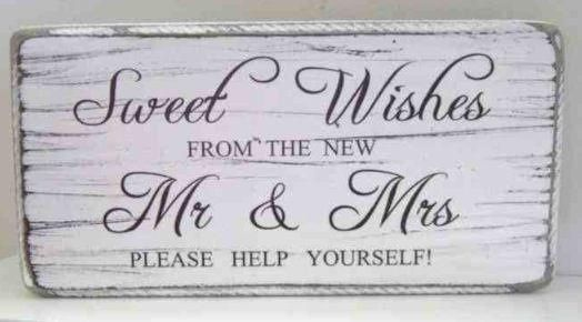 Wooden sign for the candy cart