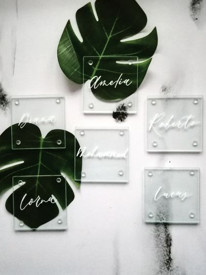 Glass Coaster Place Card