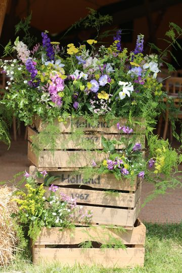 Wildflower style wooden crates