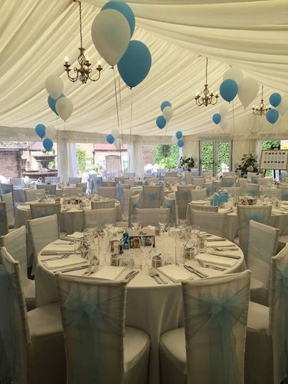 Blue and white chair décor