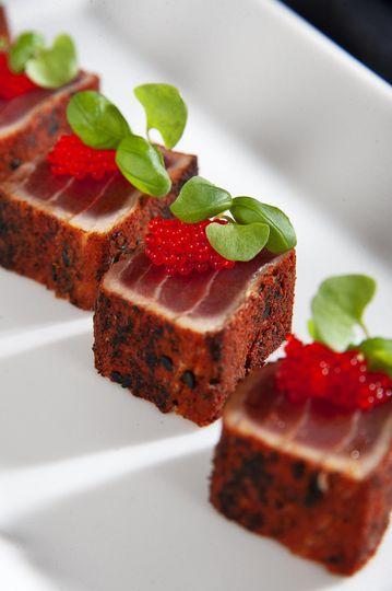 Spiced seared tuna canape