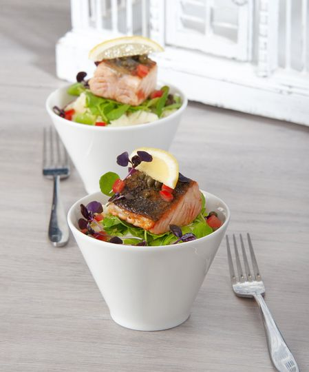 Baked salmon bowl food