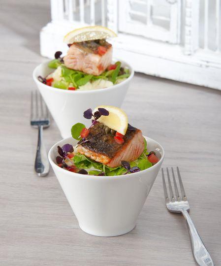 Baked salmon bowl food