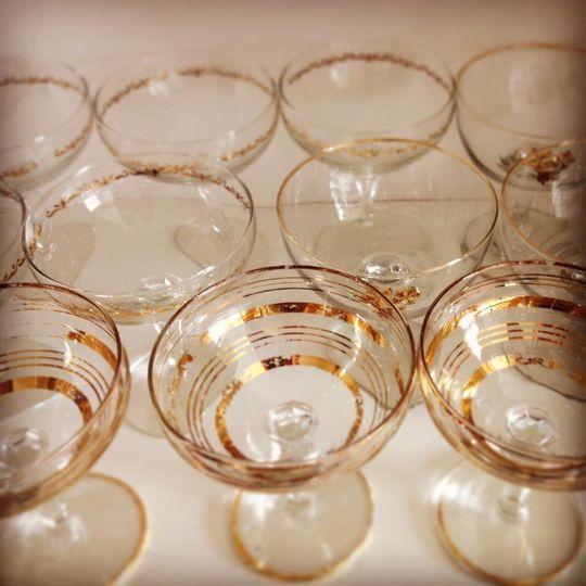 Vintage champagne saucers