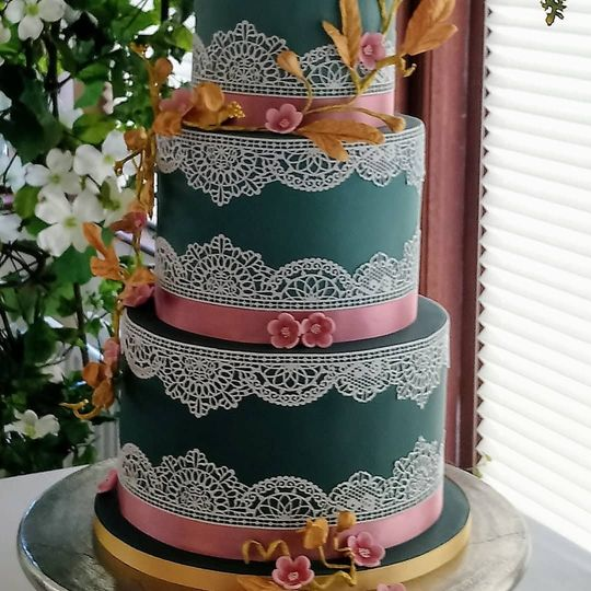 Emerald Green with Cake Lace