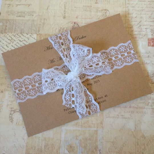Tied lace invitation