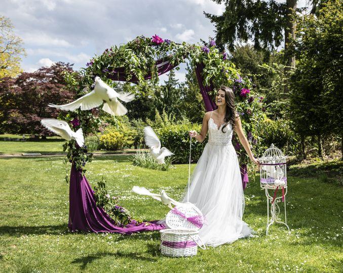 Flock release by bride