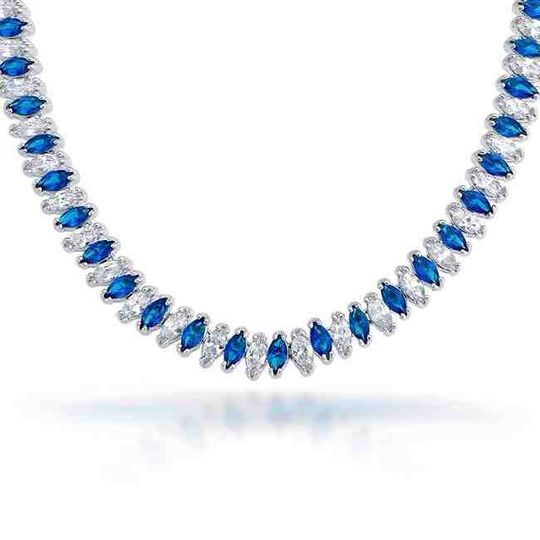 Clear/blue sapphire necklace