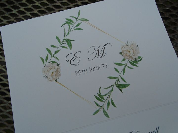 Peony and leaf trifold invite
