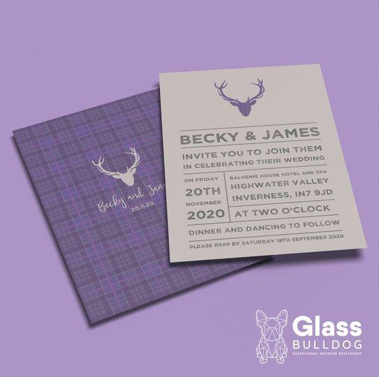 Stationery Glass Bulldog Wedding Stationery 22