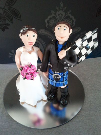 Couple with F1 flag