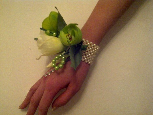Wrist Corsage on a Pearl Wristlet