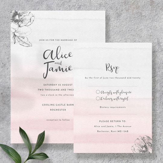 Blush & Grey invite & rsvp