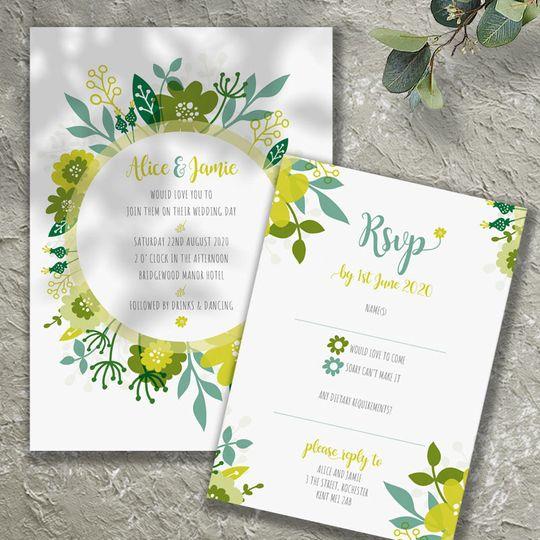 Floral Wreath invite & rsvp