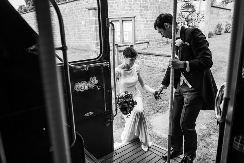 Getting on the wedding bus