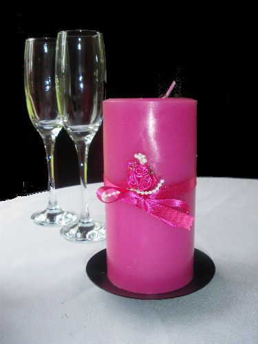 Decorated hot pink candle