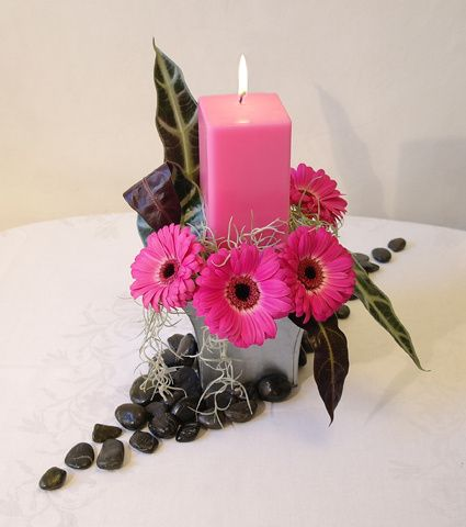 Pink square candle