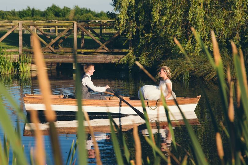 Newlyweds in a boat