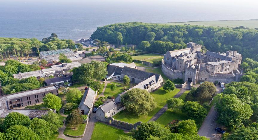Aerial view of St Donat's Castle