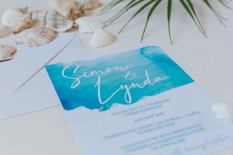 Beach-themed invitations