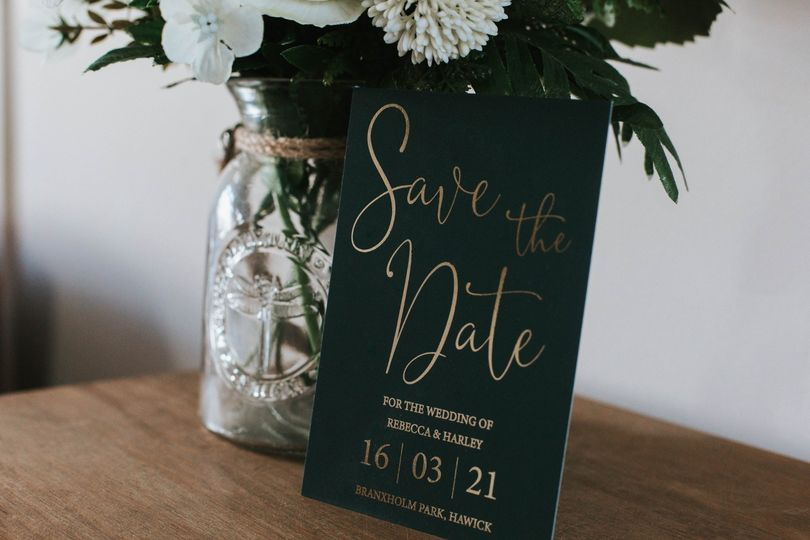 Green gold foil stationery
