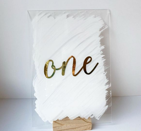 Acrylic hand painted table number