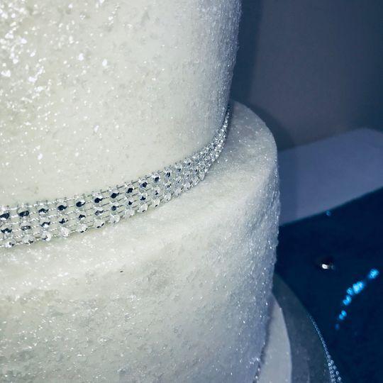 Glittery wedding cake decor
