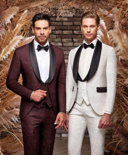 Burgundy and white wedding tuxedos