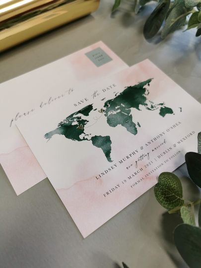 Map Save the Date Gold Foil