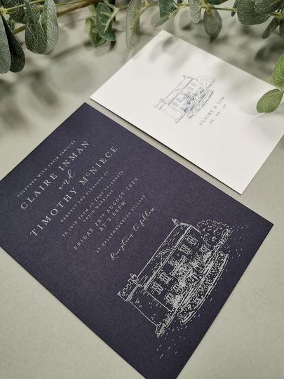 Venue with Silver ink on Navy