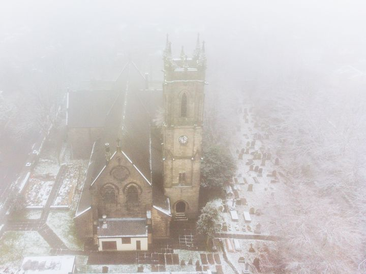 Aerial View - Snowy Church