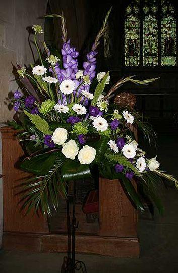Gerbera pedestal arrangement