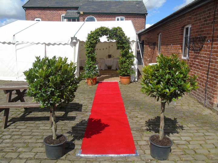 Red carpet and flower arch