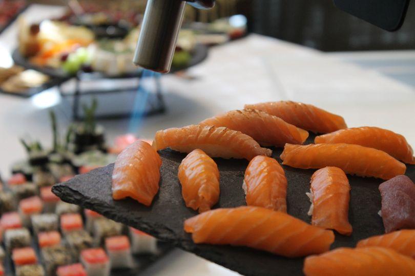 Flame seared salmon nigiri