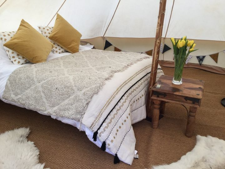 Real beds in our wedding tents