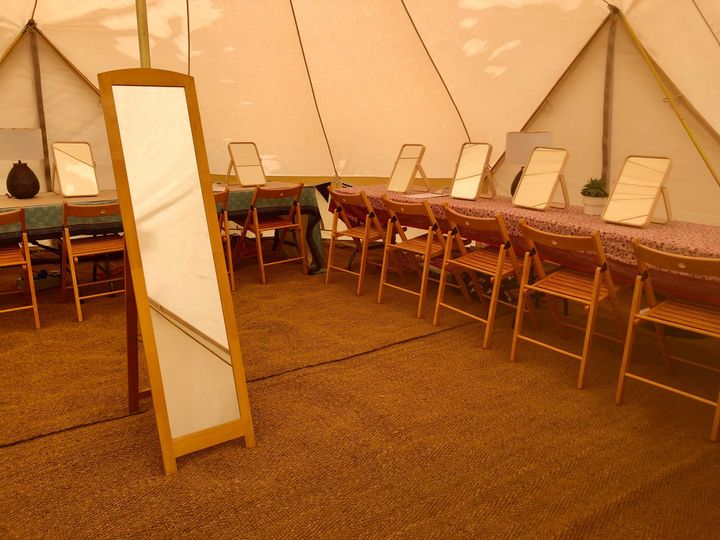 Pamper tents with 15 stations
