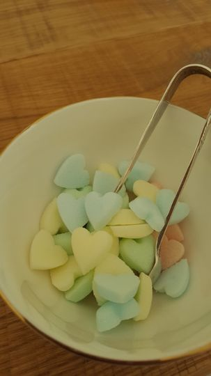 Pastel coloured sugar cubes