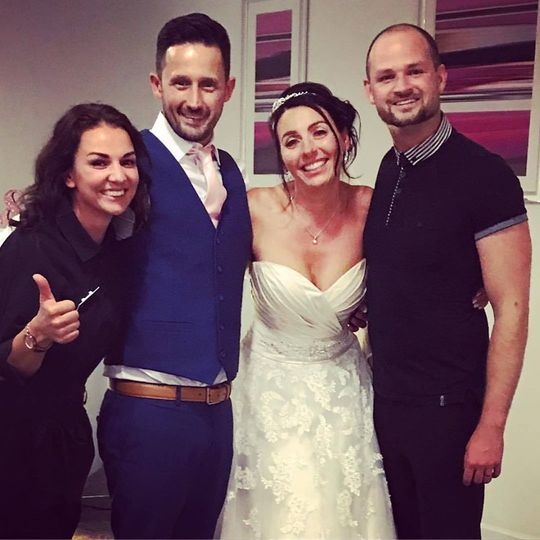 Newlyweds with the entertainers