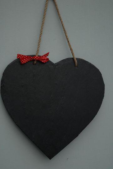 Slate heart chalk board