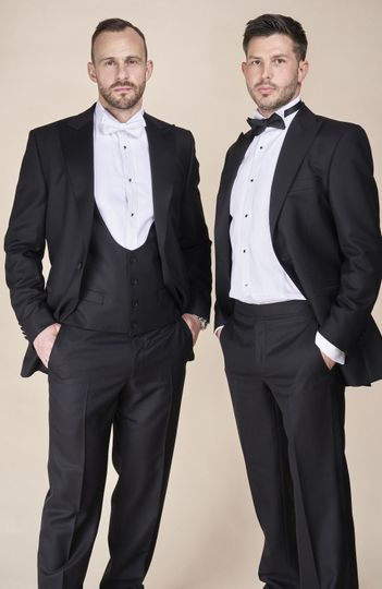 Black and white evening suits
