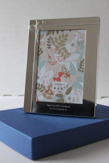 Silver Plated 7x5 Ribbon Photo Frame