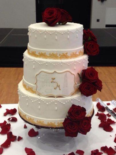 3 tier fresh rose cake