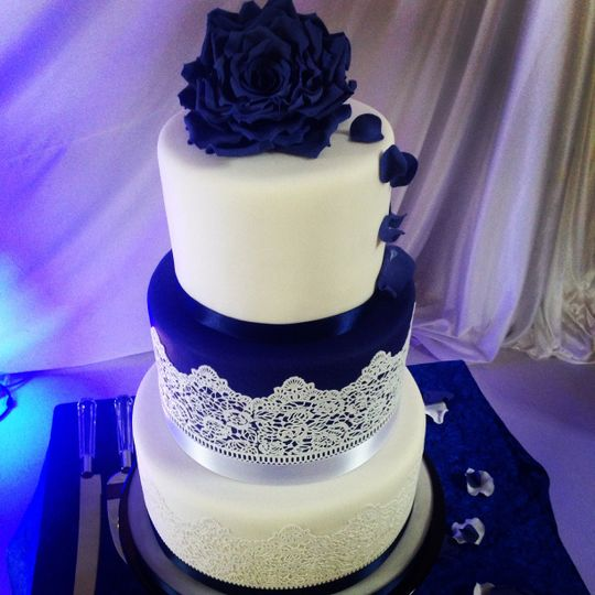 3 tier navy and white lace