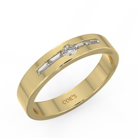Gold Wedding Band with Diamond
