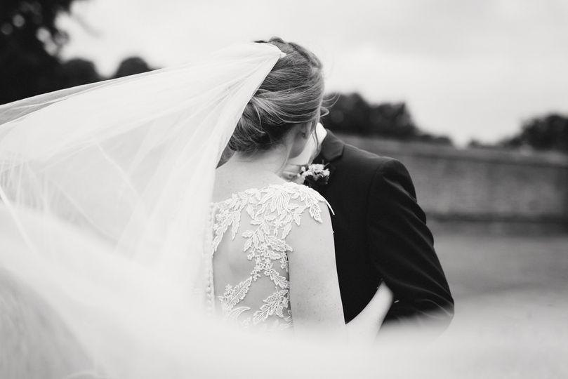 Elegant updo with veil