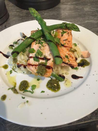 Salmon asparagus rissoto