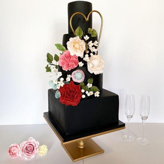 Modern black and sugar flowers